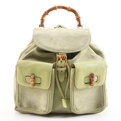 Gucci Bamboo Light Green Suede and Grained Leather Backpack Purse