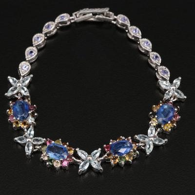 Sterling Silver Kyanite, Tourmaline and Aquamarine Floral Motif Bracelet