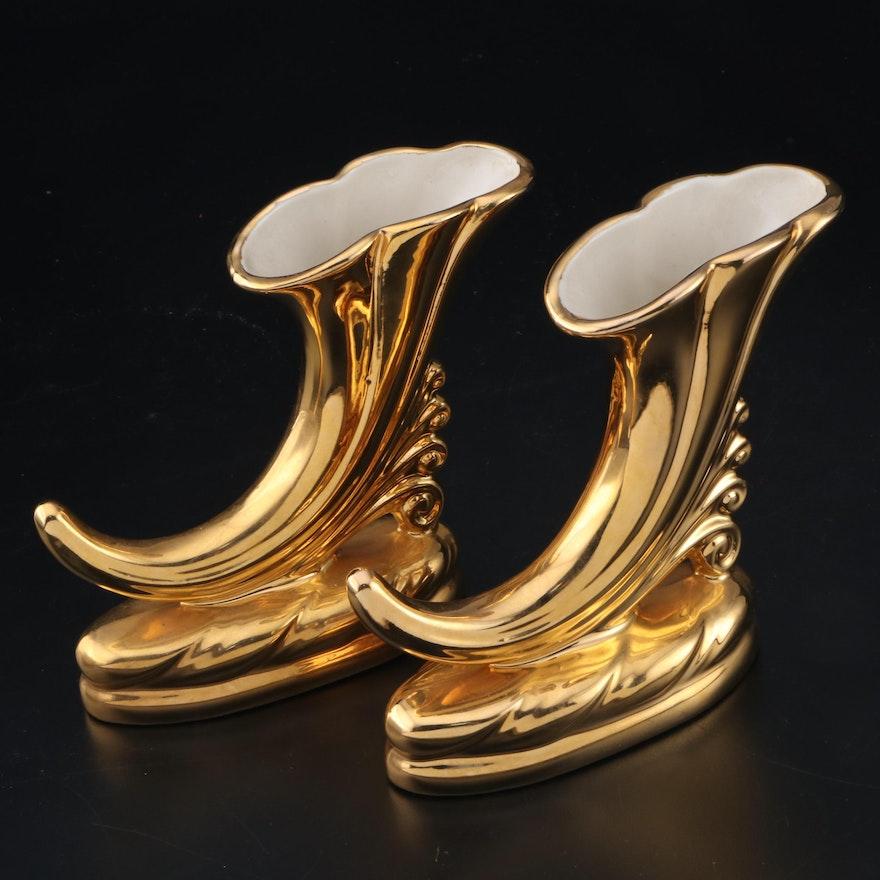 Gilt Ceramic Cornucopia Vases