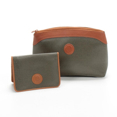 Christian Dior Bifold Wallet and Pouch in Coated Canvas and Leather