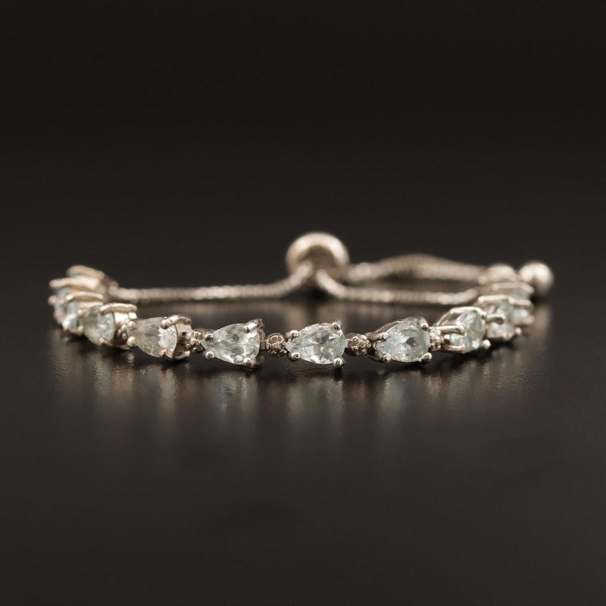 Sterling Aquamarine Bolo Bracelet