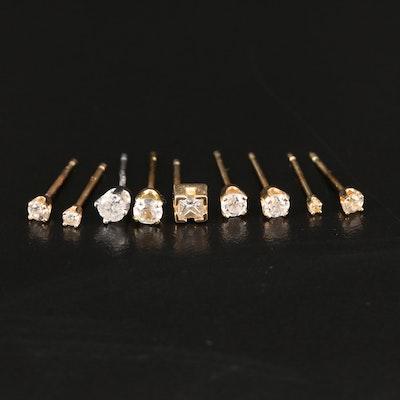 Single Stud Assortment Including 10K, 14K and Diamonds