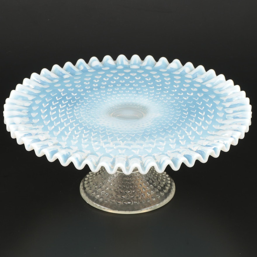 """Fenton """"French Hobnail"""" Opalescent Glass Cake Stand, Mid-20th Century"""