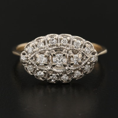 Vintage 14K Diamond Ring with Milgrain Details