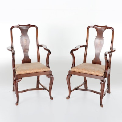 Pair of Queen Anne Style Inlaid Mahogany Armchairs