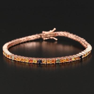 Sterling Silver Multi-Color Sapphire Line Bracelet