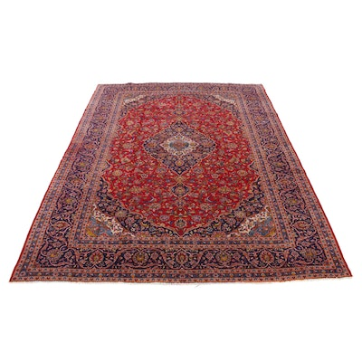 9'9 x 12'11 Hand-Knotted Persian Tabriz Room-Size Rug, 20th Century