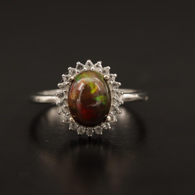 Sterling Silver Opal and White Topaz Halo Ring