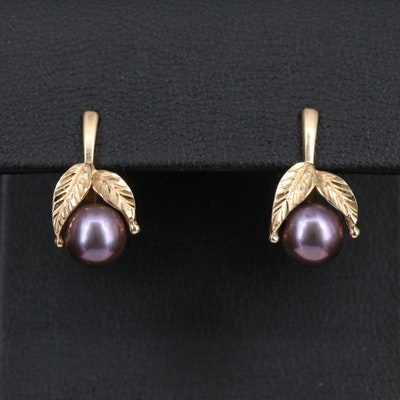 14K Pearl Drop Earrings with Leaf Motif