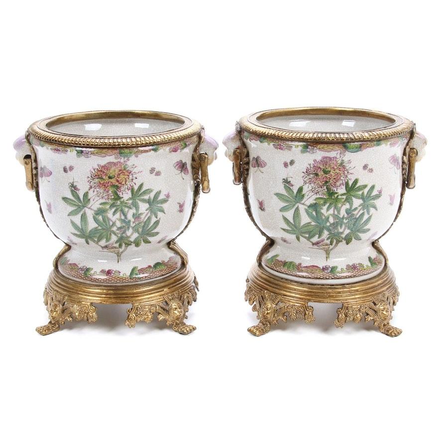 Rococo Revival Brass and Ceramic Planters