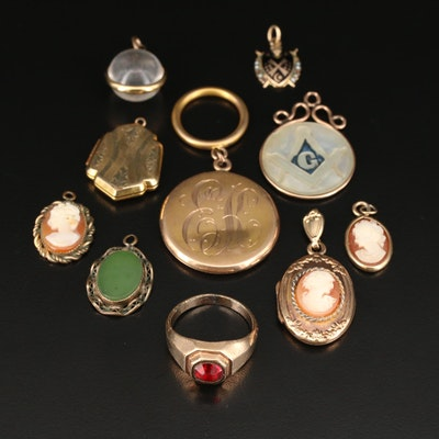 Vintage Ring and Pendants Featuring Masonic and Cameo Pieces