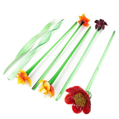 Stems of Blown Glass Daffodils, Leaves and More