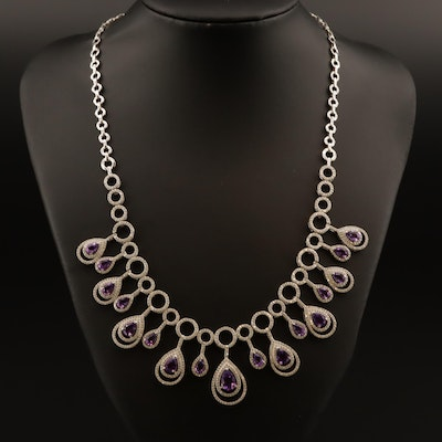 Sterling Silver Amethyst Fringe Necklace with Cubic Zirconia