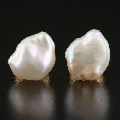 14K Baroque Pearl Stud Earrings