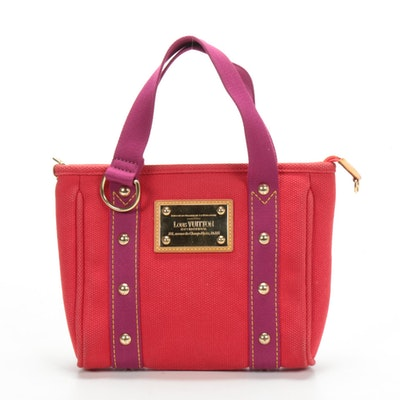Louis Vuitton Antigua PM Tote in Red Canvas with Magenta Straps