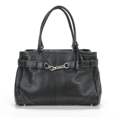 Coach Hamptons Satchel in Black Leather with Contrast Stitching