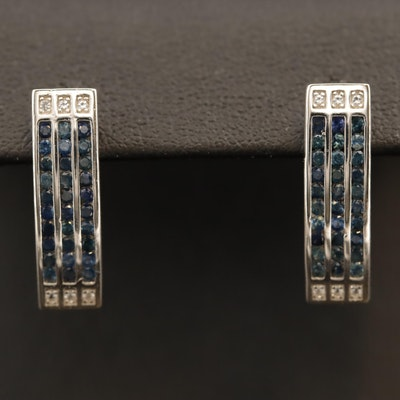 Sterling Sapphire and White Sapphire Vertical Bar Earrings