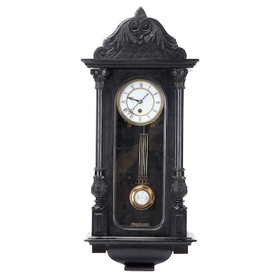 Victorian Vienna Style Ebonized Carved Oak Pendulum Wall Clock