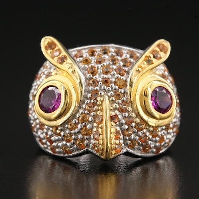Sterling Silver Garnet and Sapphire Owl Ring