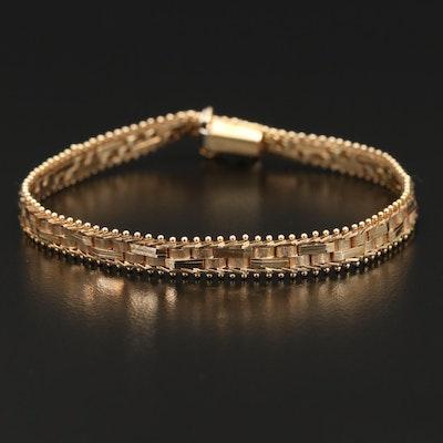 14K Textured Riccio Chain Bracelet