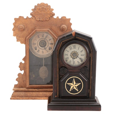 Victorian Albert Brothers Carved Wood Mantel Clock and Other Wood Shelf Clock
