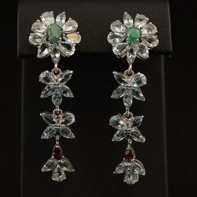 Sterling Emerald, Aquamarine and Garnet Dangle Earrings
