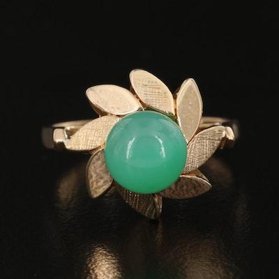 14K Prasiolite Ring with Pinwheel Motif