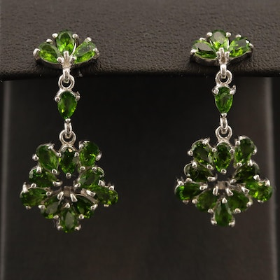 Sterling Silver Diopside Dangle Earrings