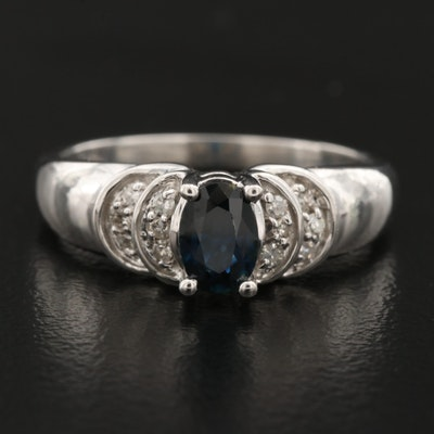 14K Blue Sapphire and Diamond Ring