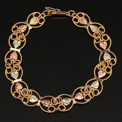 Coleman Company 10K Tri Color Gold Leaf Motif Bracelet
