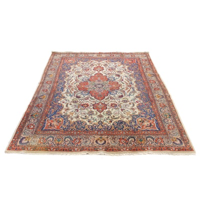 9'6 x 12'7 Hand-Knotted Indo-Persian Tabriz Room-Size Rug, 20th Century