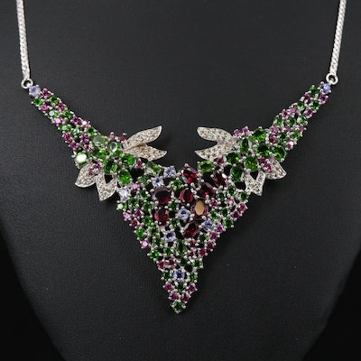 Sterling Silver Floral Necklace with Rhodolite Garnet, Diopside and Tanzanite