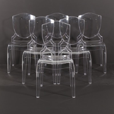 Six Acrylic Shield Back Dining Chairs, 21st Century