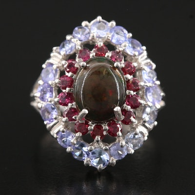Sterling Silver, Opal, Garnet and Tanzanite Ring