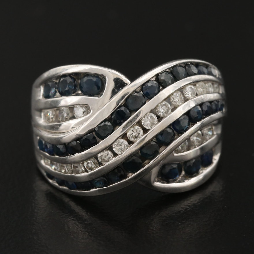 14K Channel Set Sapphire and Diamond Ring