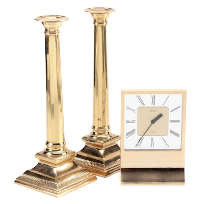 Seiko Contemporary Style Desk Clock and a Pair of Brass Candlesticks