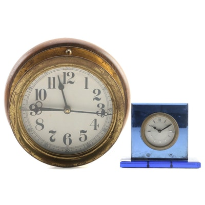 Brass Ships Bell Wall Clock and Acrylic Desk Clock