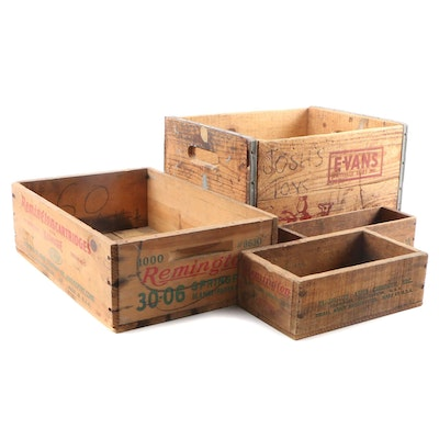 Remington Wooden Ammunition Boxes and Evans Dairy Crate