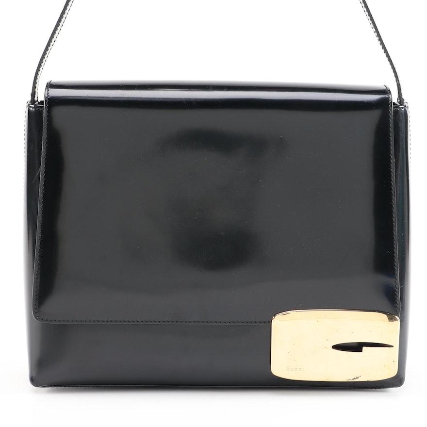 Gucci Black Glazed Box Calf Leather Flap Front Shoulder Bag, Vintage