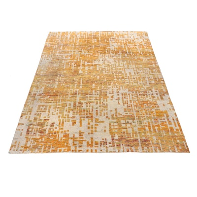 8'11 x 10'0 Hand-Knotted Mid Century Modern Style Rug
