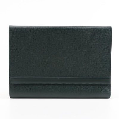 Louis Vuitton Document Case in Green Taiga and Smooth Leather