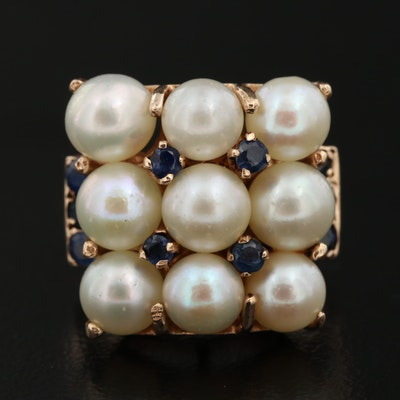 Vintage 14K Pearl and Sapphire Ring
