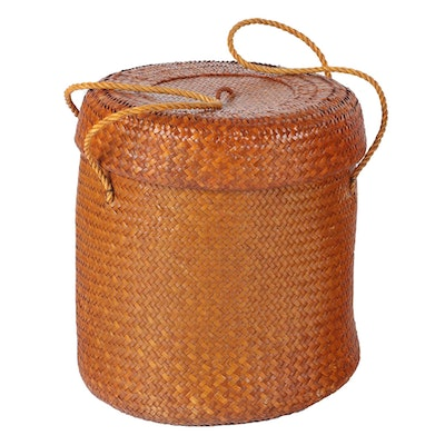 Herringbone Weave Lidded Hamper Basket with Handles