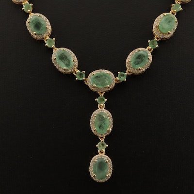 Sterling Silver Emerald and Faceted Glass Necklace