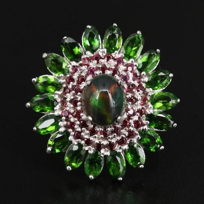 Sterling Silver Opal, Diopside and Rhodolite Garnet Ring