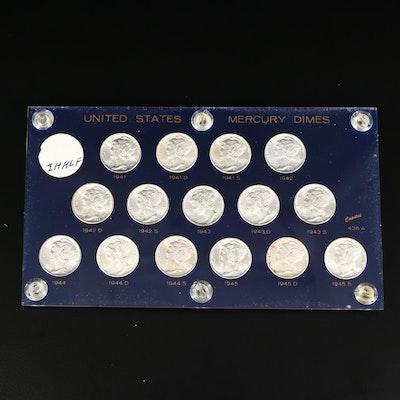 Mercury Silver Dime Collection, 1941-1945