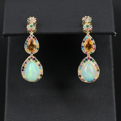 Sterling Silver Opal and Citrine Drop Earrings with Cubic Zirconia Accents
