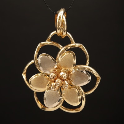 14K Two Tone Anemone Flower Slide Pendant with Brushed Finish