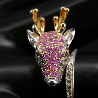 Sterling Silver Ruby and Sapphire Deer Head Ring