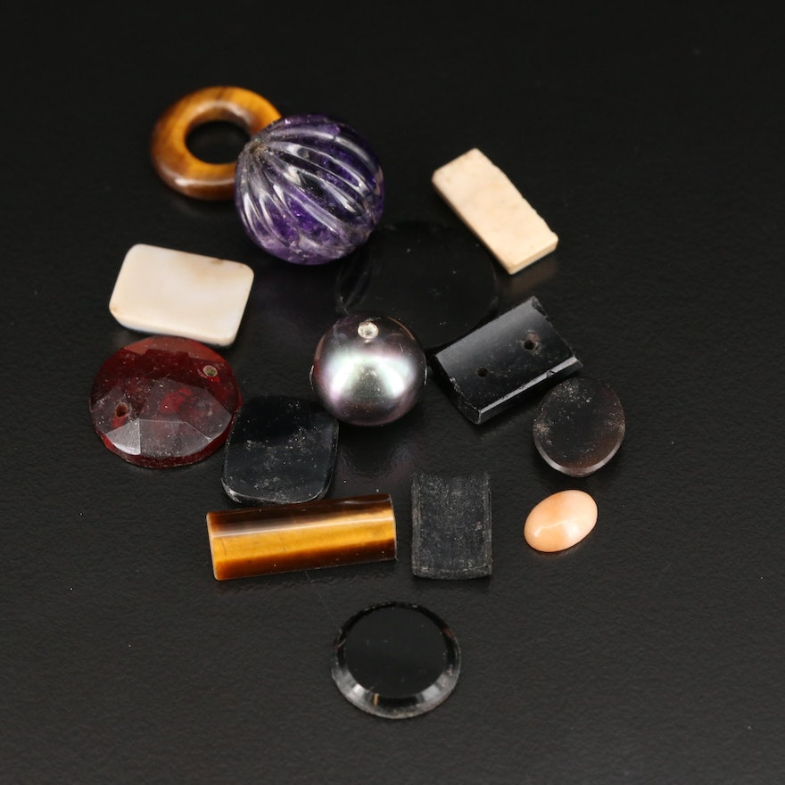 Loose Gemstone Selection Featuring Tiger's Eye, Onyx and Amethyst